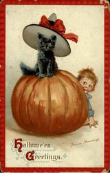 Child and Black Cat Pumpkin - Hawllowe'en Greetings Postcard