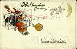 Halloween Witch in Airplane Postcard