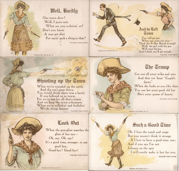 Set of 6: Western Girl Series, Cowgirl with Guns, Sharpshooter