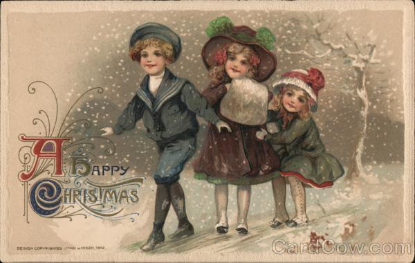 A Happy Christmas- Three children in the snow. John Winsch