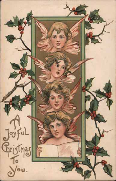 A Joyful Christmas to You - four young female angel faces