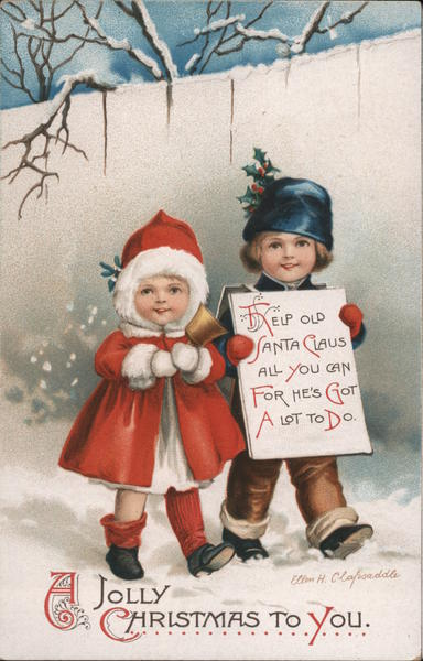 A Joyful Christmas to You - Two Children Walking in the Snow