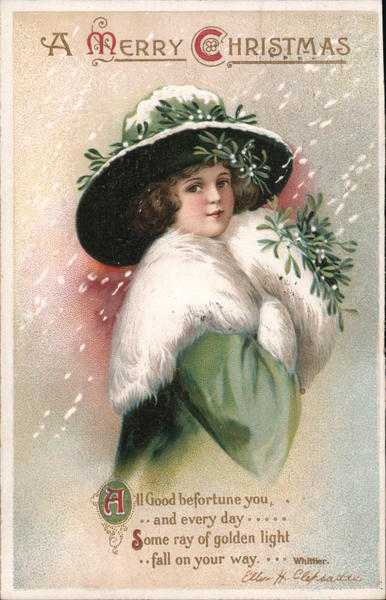 A Merry Christmas - Woman in Green Ellen Clapsaddle