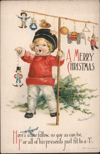 A Merry Christmas - child with toys and some tree branches