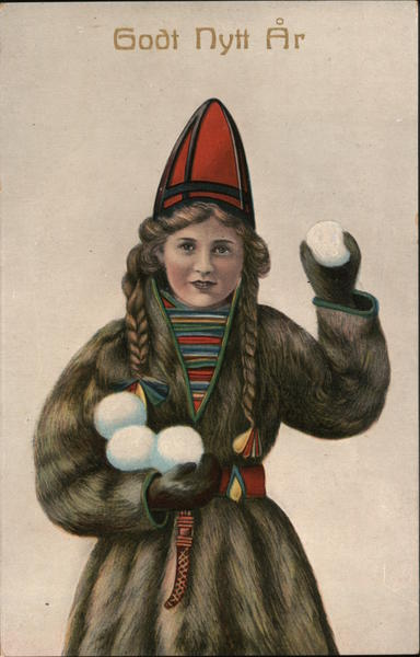 A Girl in a Fur Coat Holding Snowballs Christmas