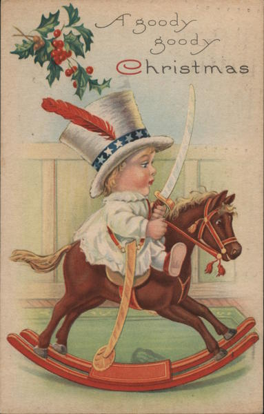 A goody goody Christmas. Boy riding on rocking horse with a sword and a feather in his hat.