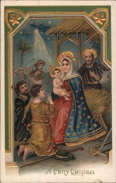A Merry Christmas - Mary, Joseph, and Baby Jesus in stable with shepherds worshipping Jesus