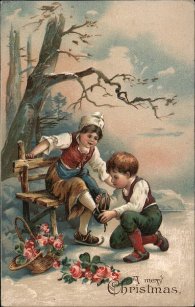 A Merry Christmas - boy helping girl put on ice skates