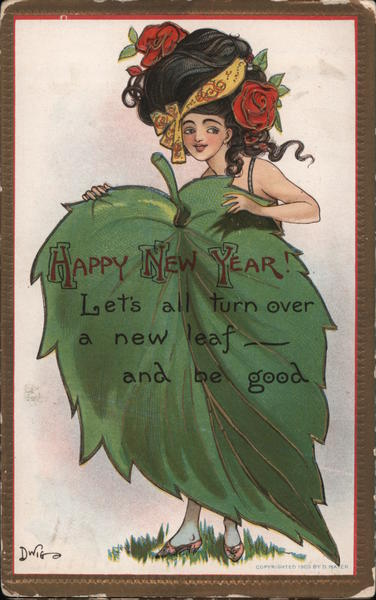 Happy New Year - A Woman Hiding Behind a Large Leaf