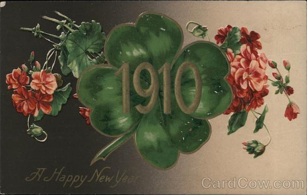 A Happy New Year - Date, Four Leaf Clover and flowers