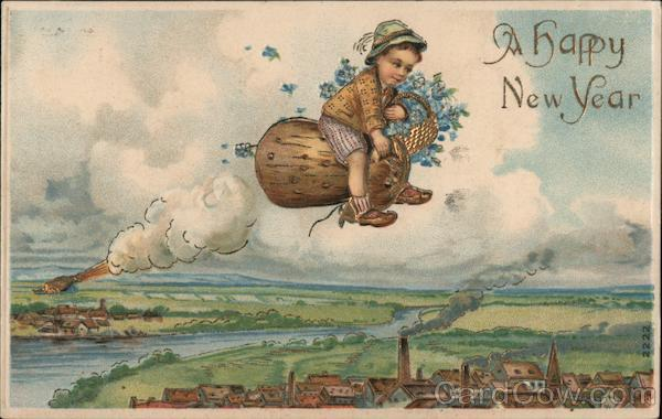 A Happy New Year - child with flowers flies through sky on odd duck-like creature