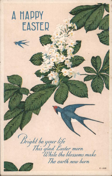 A Happy Easter - Chestnut Blossom, Swallows and Poem