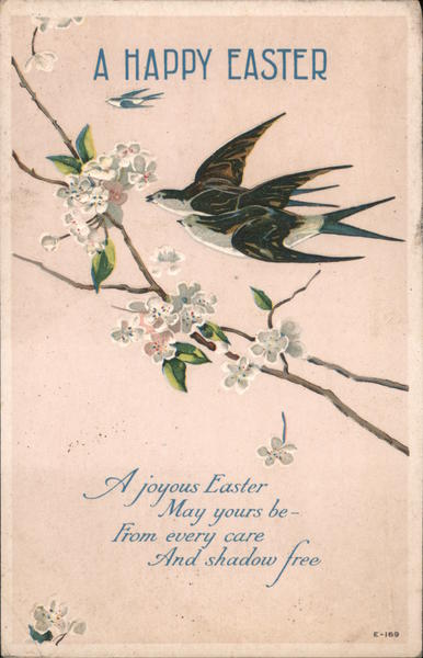 A Happy Easter - A Bird and Flowers