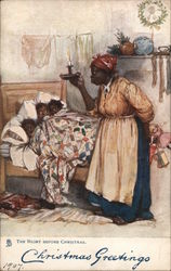 Christmas Greetings -The Night Before Christmas - Black Children Cowering in Bed under Mother's Gaze