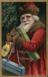 Christmas Greetings - Santa with an armful of toys