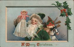 A Merry Christmas Santa with toys. Postcard