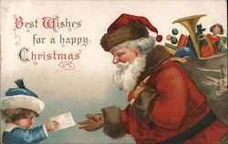 Best Wishes for a happy Christmas child giving Santa a letter Postcard
