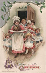 A Merry Christmas - Children with a Christmas Feast Postcard