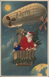 A Joyful Yuletide - Santa with toys in a dirigible floating over earth