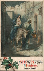 Mary and Joseph with Baby Jesus Riding a Donkey Postcard