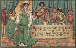 Drink to me only with thine Eyes - Medieval group in celebration Postcard