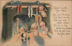 Good Luck For You May Your Christmas Fire Burn Merrily Postcard