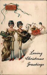 Loving Christmas Greetings - wooden toy postmen