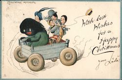 """Golliwogg"" Motoring: Golliwogg drives wagon of Christmas well-wishers"