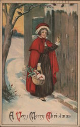 A Very Merry Christmas - girl in snowy outdoor scene, carrying basket to the door
