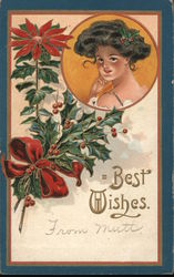 Best Wishes - Woman's Face with Poinsettia and Holly