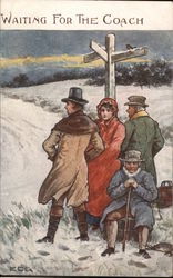 Waiting for the Coach - Four People in Winter Coats at a Signpost