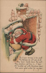 Santa Coming Down the Chimney Postcard