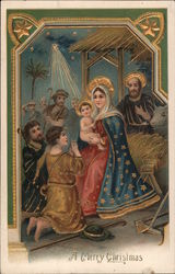 A Merry Christmas - Mary, Joseph, and Baby Jesus in stable with shepherds worshipping Jesus Postcard