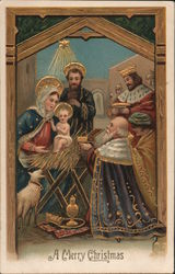 Mary, Jesus, Joseph, The Three Wise Men A Merry Christmas Postcard