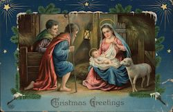Christmas Greetings-Mary and child in the manager with two sheperds and a lamb. Postcard