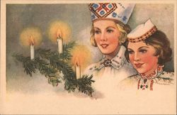 Candles in sprigs of pine, festively dressed women