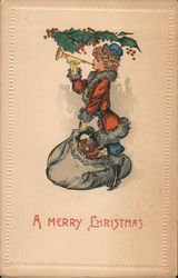 A Merry Christmas - Woman Santa with Toy Bag and Bugle