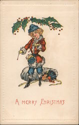 A Merry Christmas - A stylish female Santa with toys
