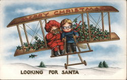 Merry Christmas Looking for Santa. Two children in an airplane.