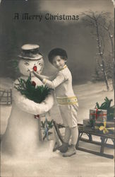 A Merry Christmas - Boy Placing Nose on Snowman