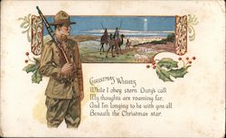 Christmas Wishes - Man in military, 3 Wise Men and star, poem about Christmas