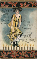 Happy New Year - woman in fancy dress, 12 candles