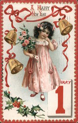 A Happy New Year - Girl in pink gown surrounded by a garland and bells