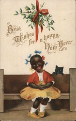 Best Wishes for a Happy New Year - smiling child on bench, and kitty cat