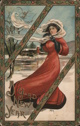 A Glad New Year - A Woman Outside in the Wind