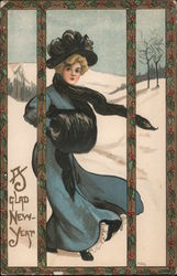 A Glad New Year - Woman wearing long coat with muff, scarf, hat. Snowy background.