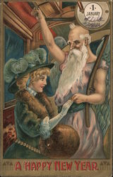 Woman Greeting Father Time: A Happy New Year