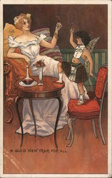 A Guid New Year For All - beautiful lady in elegant gown toasting drinks with cherub or angel