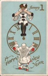 A Happy New Year - A Woman Sitting on a Clock