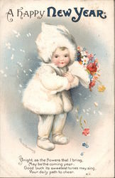 A Happy New Year - child dressed in winter finery, holding bouquet of flowers